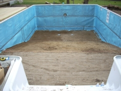 line pool walls with foam